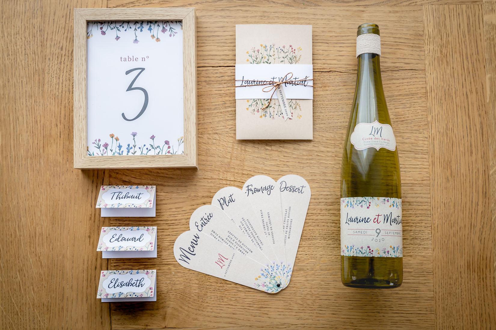 création graphique menu mariage