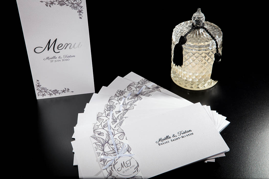menu mariage dorure chic