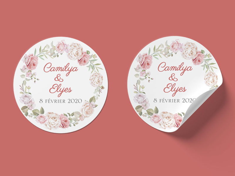 stickers transparents mariage floral