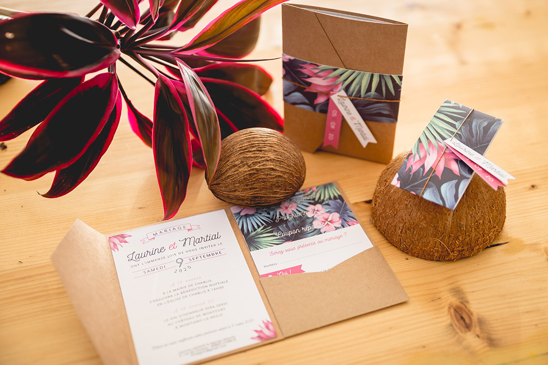 pochette faire-part tropical