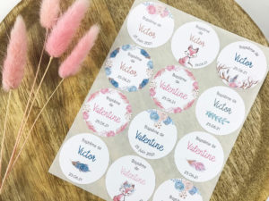 etiquettes adhesive baby shower